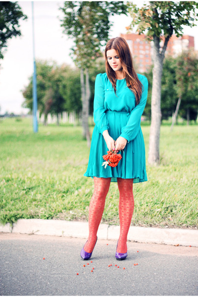 turquoise blue new look dress - carrot orange H&M stockings