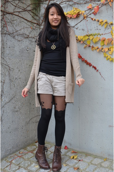 Zara cardigan - boots - H&M scarf - shorts - H&M top - stockings