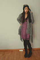 heather gray H&M cardigan - black boots - puce H&M dress - Accessorize hat