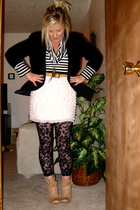 black blazer - thrifted - thrifted belt - Target skirt - black Express tights -