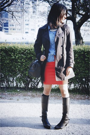black Zara jacket - black leather boots - blue Bershka shirt