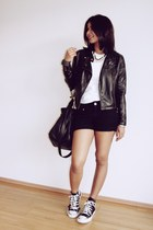 Converse shoes - leather jacket - Zara bag - Zara t-shirt