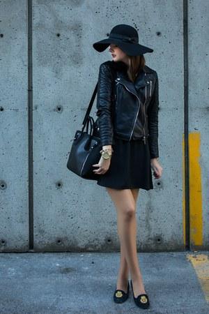 black Zara jacket - black Simons dress - forest green Simons hat