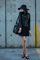 black Zara jacket - black Simons dress - forest green Simons hat