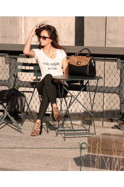 black faux leather Zara jacket - white thrited shirt - black Express pants