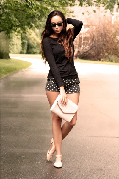 H&M bag - Jcrew shirt - polka dots madewell shorts - Zara flats