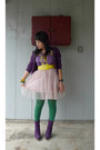 Purple-delicious-boots-yellow-love-culture-belt-romeo-et-juliet-couture-blou