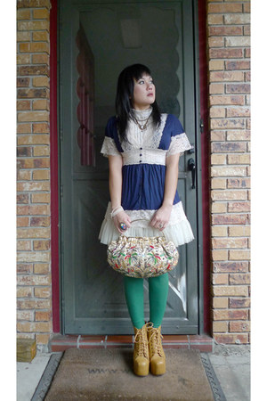 mustard lita Jeffrey Campbell boots - kelly green Rue 21 tights