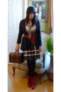 Rue-21-dress-cr-cardigan-thrifted-vintage-tights-franco-sarto-boots-cloc