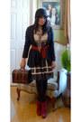 Rue-21-dress-cr-cardigan-thrifted-vintage-tights-franco-sarto-boots-cloc