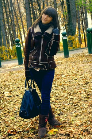 dark brown clockhouse jacket - dark brown next boots - navy papillon jeans