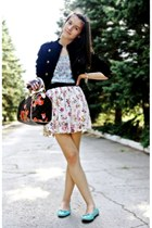 Forever 21 jacket - Louis Vuitton bag - Danity skirt - La Redoute flats