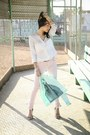 Light-pink-suiteblanco-jeans-aquamarine-splash-blazer-white-zara-shirt