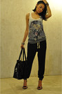 Heather-gray-tiger-top-new-yorker-t-shirt-black-harem-pants-zara-pants