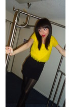 black random brand tights - yellow H&M blouse - black Forever 21 skirt - black N