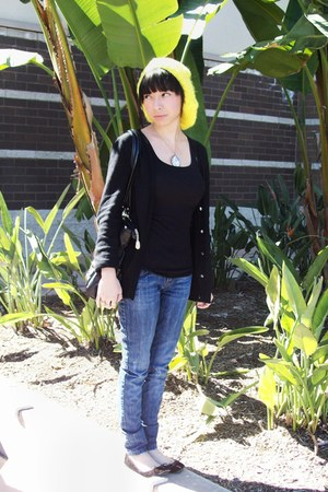 blue Zara jeans - yellow knit Forever 21 hat - black Forever 21 top - black Fore