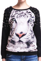 *free ship* tiger print studded sweatshirt - black - SV001299