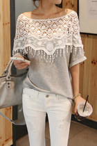 Cute grey lace top - women's summer top - round neck