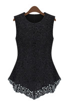 *free ship* embroidered lace sleeveless blouse tank top black