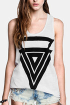 *free ship* geometry triangle pinted round neck loose tank top sleeveless aztec