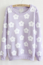 daisies pattern sweatshirt - light purple