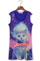 *free ship* cat print kawaii harajuku long tank top - blue - 571356512