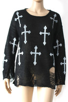 *free ship* black harajuku hole ripped torn cross sweater - 629984746