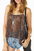 Asymmetric leopard back cross straps tank top chiffon