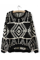 Aztec tribal loose fit sweater - black
