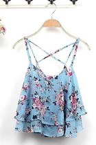 *free ship* floral print sleeveless blouse tank top SV003758 - blue