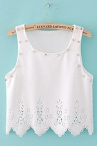 *free ship* Hollow out rivet crop top - sleeveless tank top studded stud lace