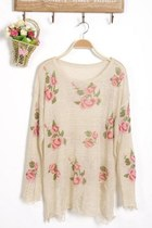 *free ship* wild roses ripped sweater - beige - 1510806574