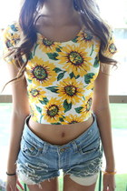 *free ship* sunflower print crop top