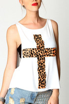 *free shipping* Leopard printed cross tank top - tee harajuku grunge rock