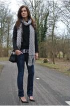 leather Zara coat - navy denim Fornarina jeans