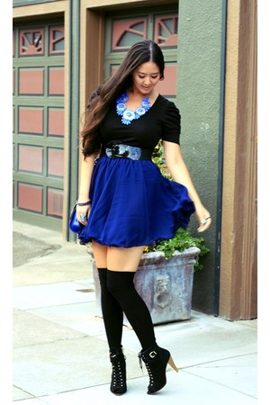 blue blue Ebay dress - black booties Forever 21 boots - navy crossbody dvf bag
