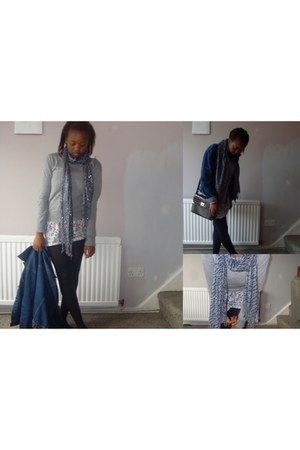 blue Primark dress - blue vintage jacket - silver Tu sweater