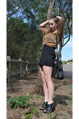 black sam edelman shoes - black Sparkle & Fade shorts - brown blouse - black Ale
