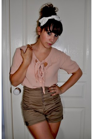 light pink asos shirt - camel shorts - white bow headband accessories