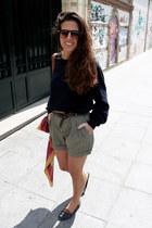 Zara scarf - pull&bear shoes - Zara shorts - Zara sunglasses