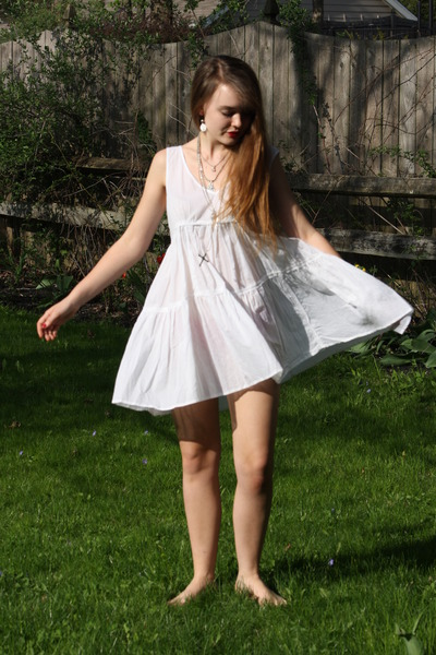 white cotton The Dress Shop dress - silver hark jewelry The Dress Shop necklace