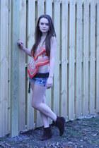 dark brown Nine West boots - red Wallflower Vintage shirt - blue DIY shorts - da