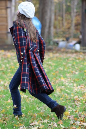 Wallflower Vintage coat - dark brown Nine West boots - navy Levi jeans