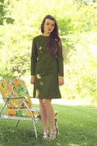 olive green wool dress