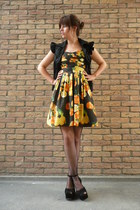 black flatforms Topshop shoes - yellow orange print Primark dress