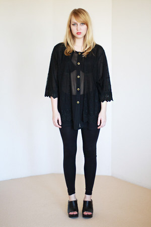 black sheer slouchy vintage blouse
