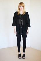 black sheer slouchy vintage blouse