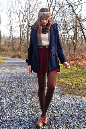 crimson Lulus scarf - crimson Topshop dress - navy Delias coat
