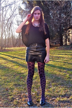 purple vera wang tights - silver InPink necklace - black H&M blouse
