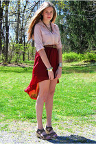 ruby red Forever 21 skirt - olive green Bandolino shoes